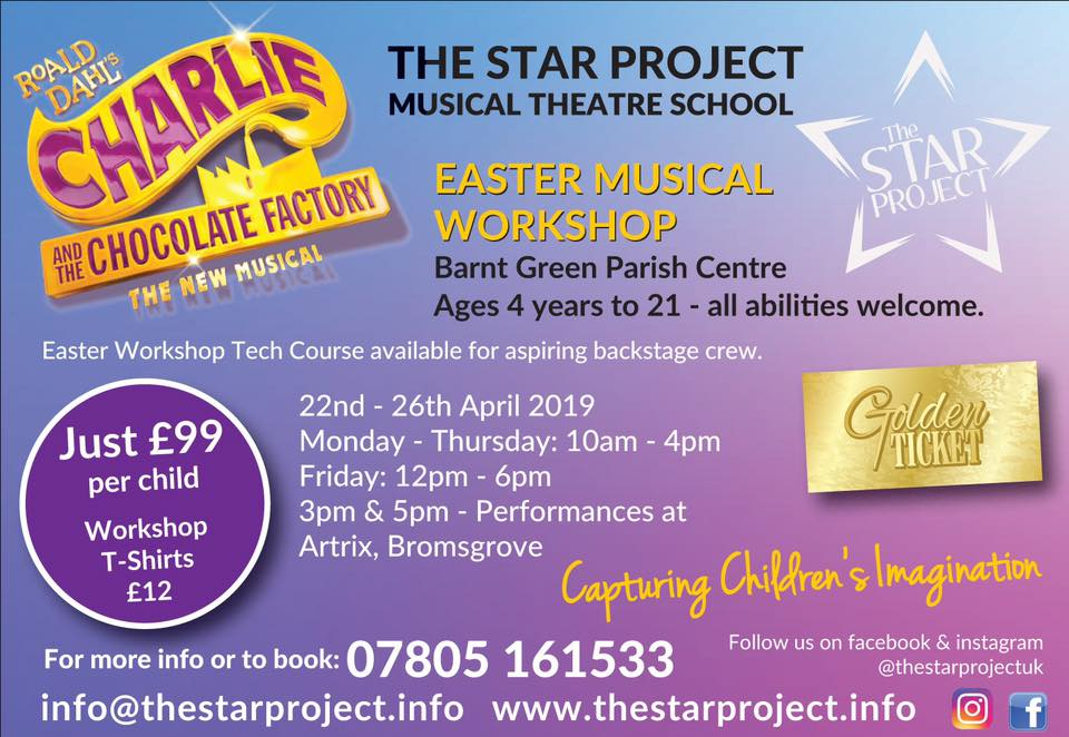 Our Charlie and the Chocolate Factory Easter workshop on the 22nd April to the 26th April.